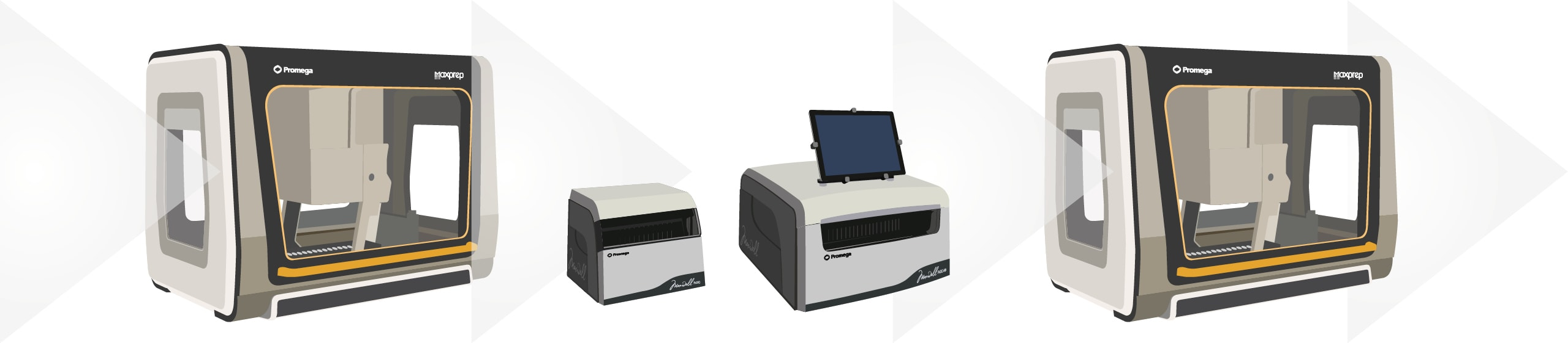 Maxprep and maxwell instruments provide a complete workflow solution for pre-processing,  automated DNA extraction and post-processing