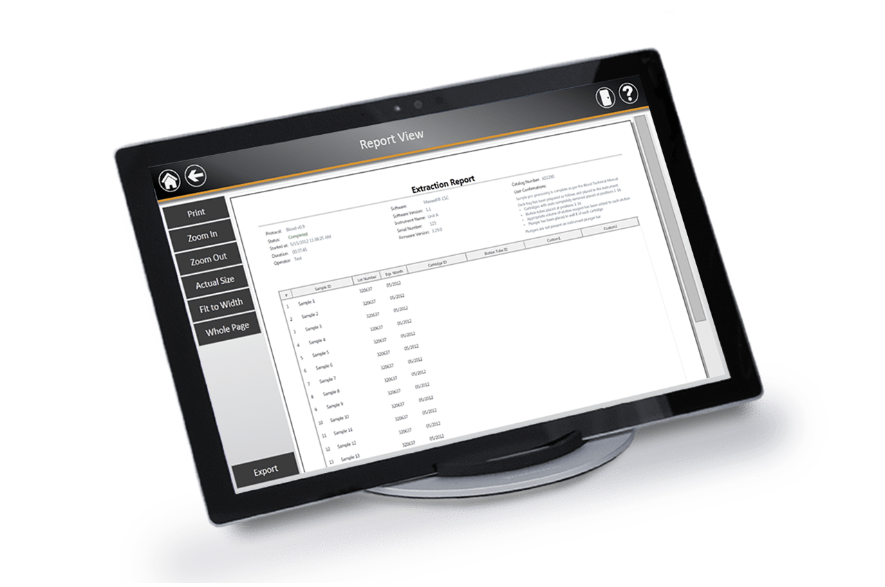 Records displayed on tablet