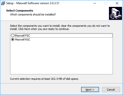 Screenshot showing how to pick the Maxwell® RSC or FSC instrument