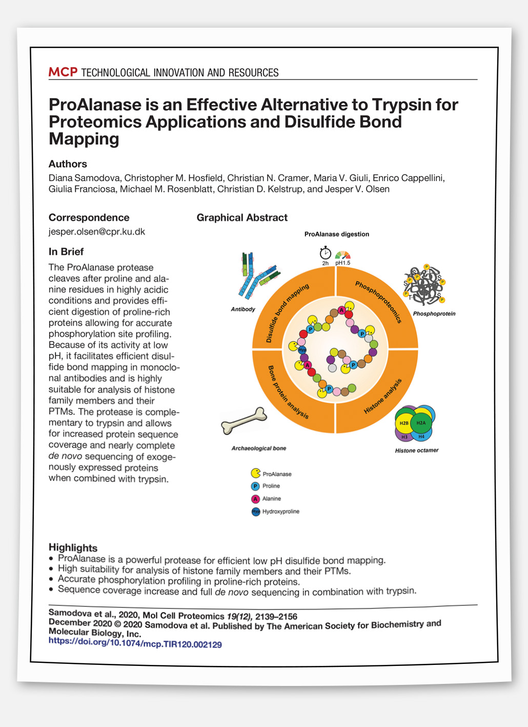 Paper: ProAlanase is an effective alternative to trypsin for proteomics applications and disulfide bond mapping.