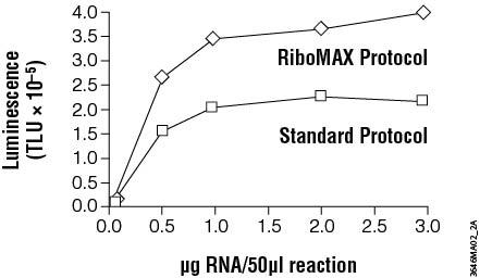 RiboMax produces more RNA than standard in vitro transcription protocols.