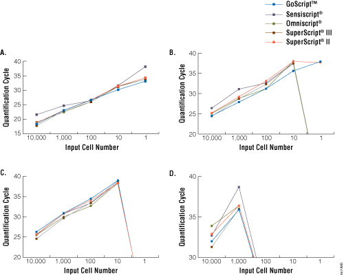 Sensitivity of detection of GAPDH, lamin A, Trp53 and Cdk9 transcripts.