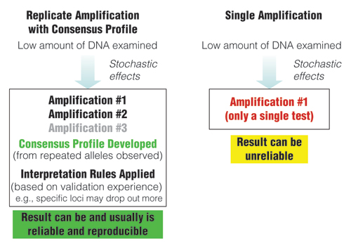 Comparison of approaches when examining low amounts of DNA.