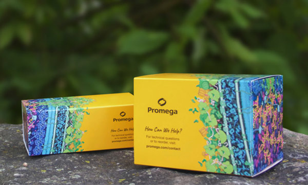 Two Promega kit boxes made of sustainable box packaging