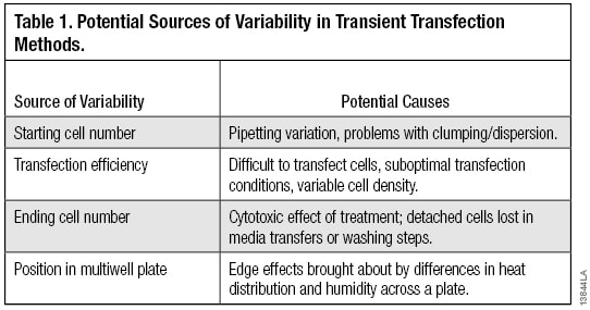 Sources of variability in transient transfection methods