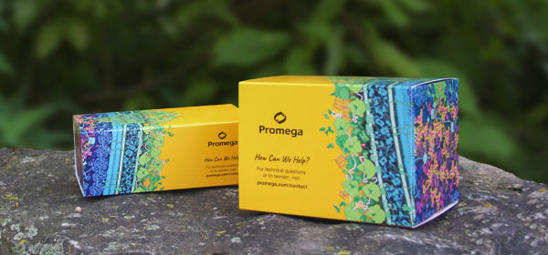 Promega's new sustainable kit packaging